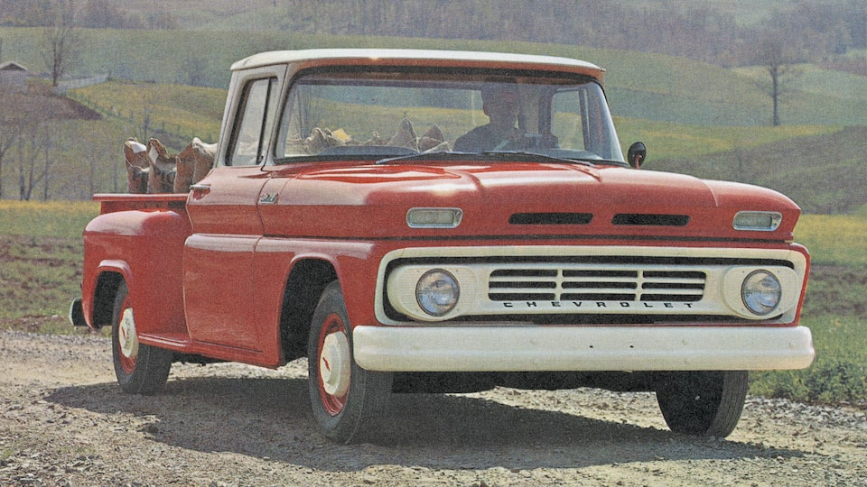 An old photograph of a red Chevy C/K Series pickup from the 1962 C/K brochure.