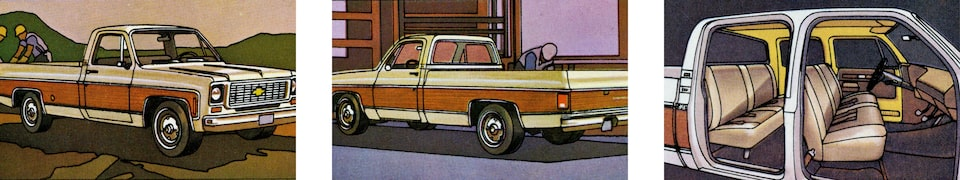 A photo from the original 1973 Chevy truck brochure showing three views of a red and white C/K Series pickup: one from the passenger side, one from the driver side, and one without the doors showing the interior.