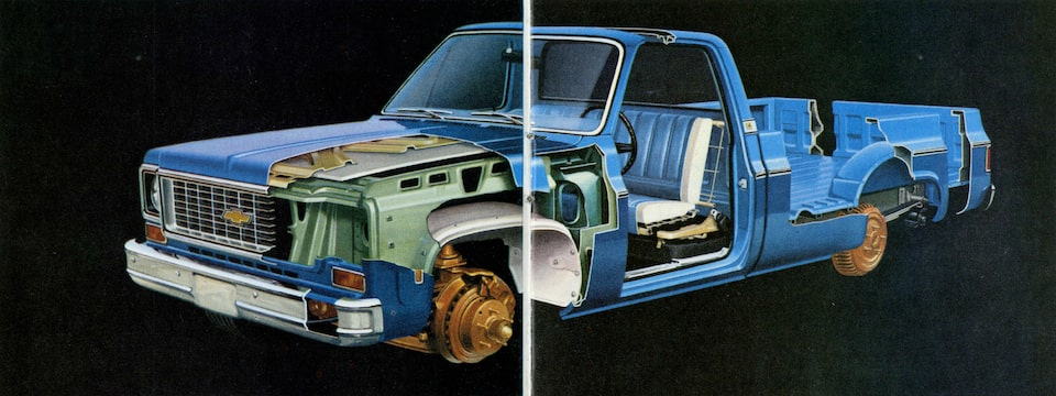 A photo from the original 1973 Chevy truck brochure showing a blue pickup with cutaways to reveal different features of the truck.