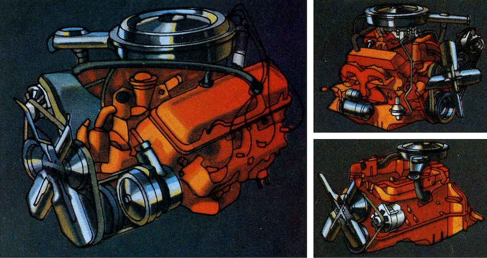 A photo from the original 1973 Chevy truck brochure showing three different views of one of the engines.