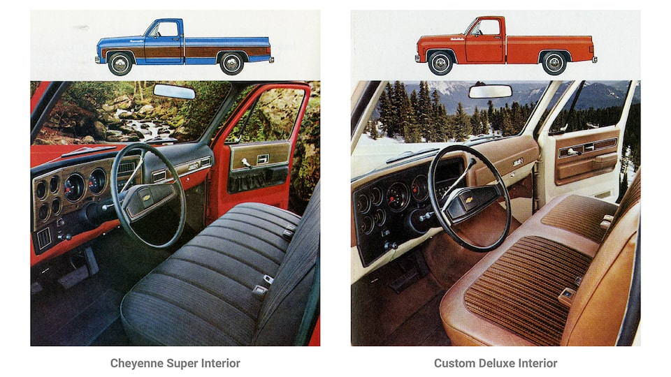 A photo from the original 1973 Chevy truck brochure showing two interior options for the C/K Series pickup. One is labeled Cheyenne Super Interior and shows a black bench seat and a black instrument panel. The other is labeled Custom Deluxe Interior and shows a vinyl and cloth brown bench seat and brown instrument panel.
