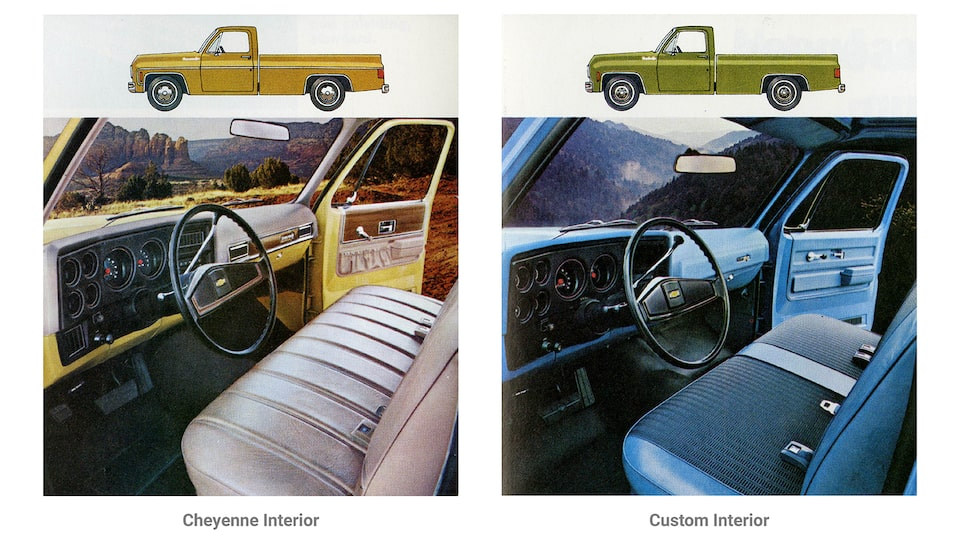 A photo from the original 1973 Chevy truck brochure showing two interior options for the C/K Series pickup. One is labeled Cheyenne Super Interior and shows a blue bench seat and a black instrument panel. The other is labeled Custom Deluxe Interior and shows a brown bench seat and brown instrument panel.