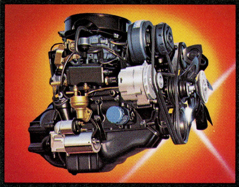 An illustration of an engine from the 1983 Chevy S-10 brochure.
