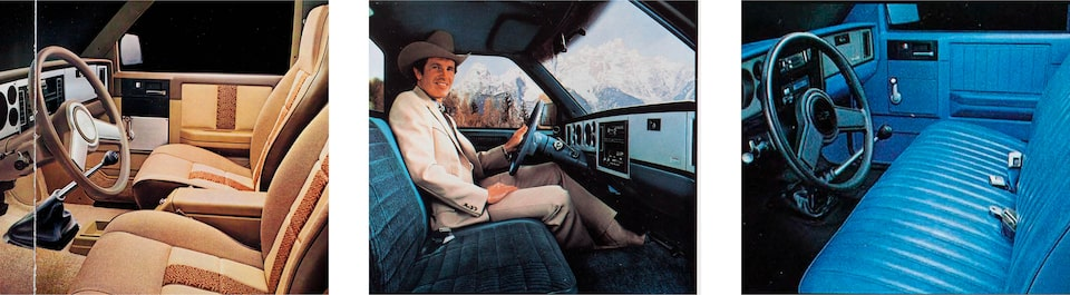 Three images from the 1983 brochure of the interior of Chevy S-10 pickups. One is a tan interior with bucket seats in front and a console between them. The other two show blue interiors with a front bench seat. In one, a man wearing a cowboy hat sits in the driver's seat.