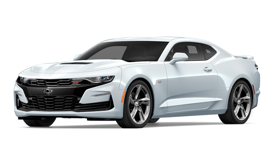 A Camaro 2SS Coupe in Summit White paint.