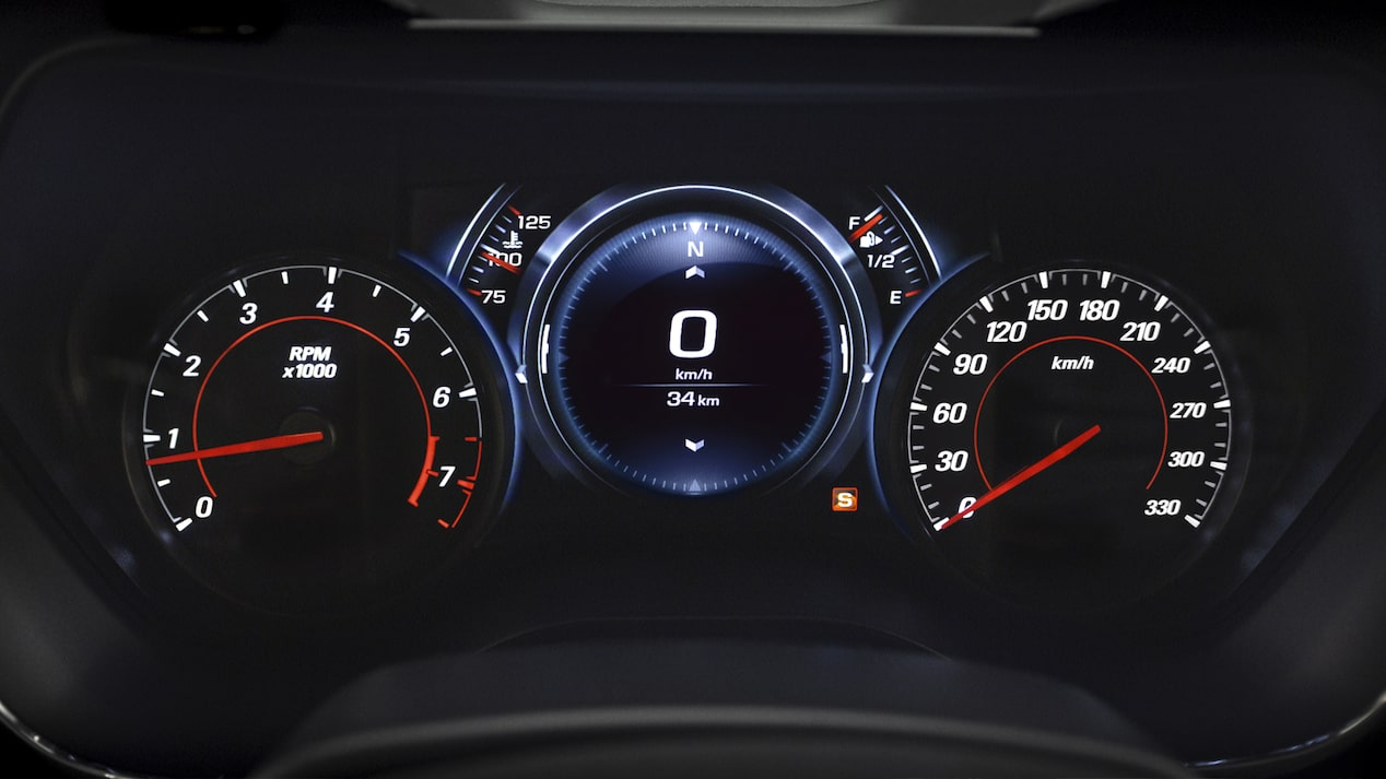 Close-up photo of the Camaro's Driver Information Center, which shows the tachometer, speedometer and other gauges.