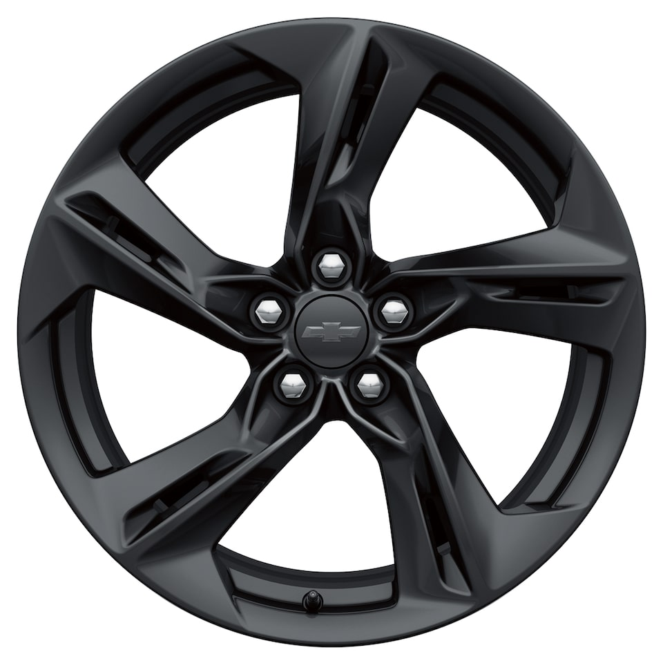 Carbon flash painted five-spoke Camaro wheel.