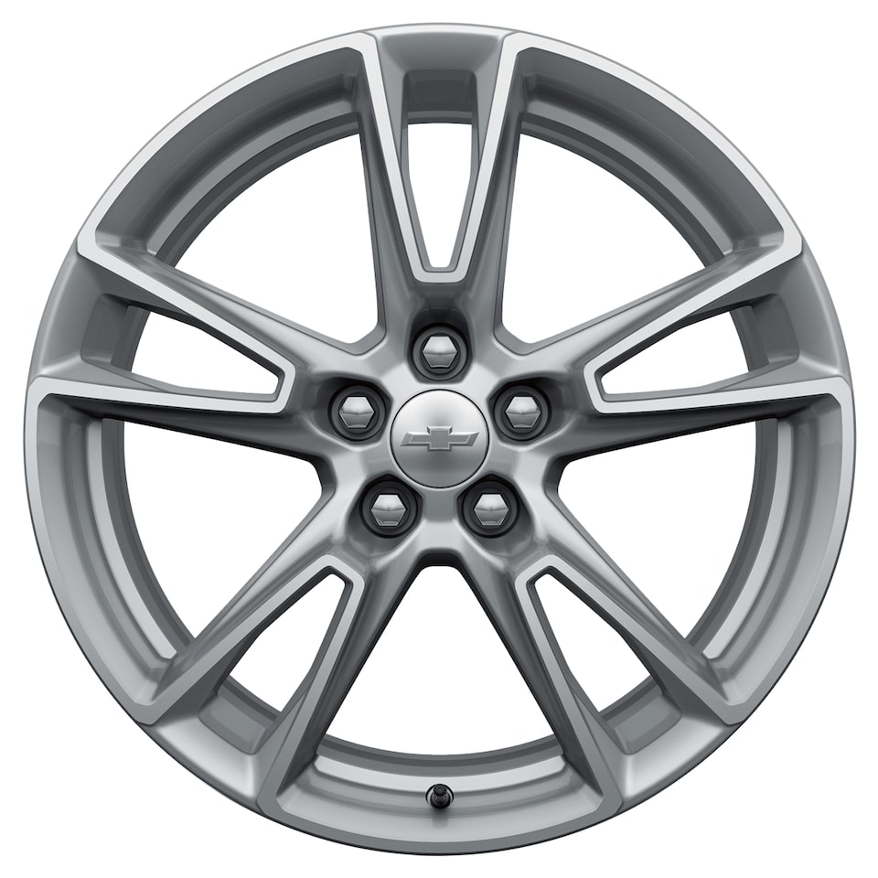 Five-split-spoke silver painted Camaro wheel.