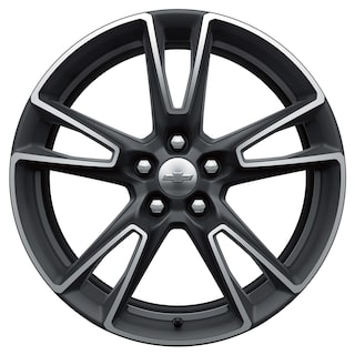 Five-split-spoke machined-face gray painted Camaro wheel.