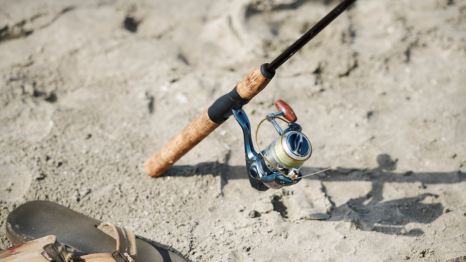A fishing pole wedged into the sand on a beach.