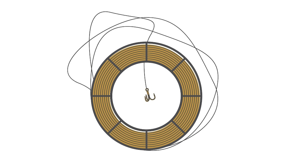 An illustration of a fishing reel and line.