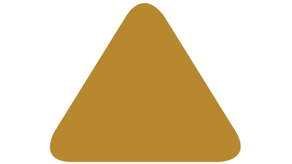 A drawing of a gold-colored triangle, similar to traffic caution signs.