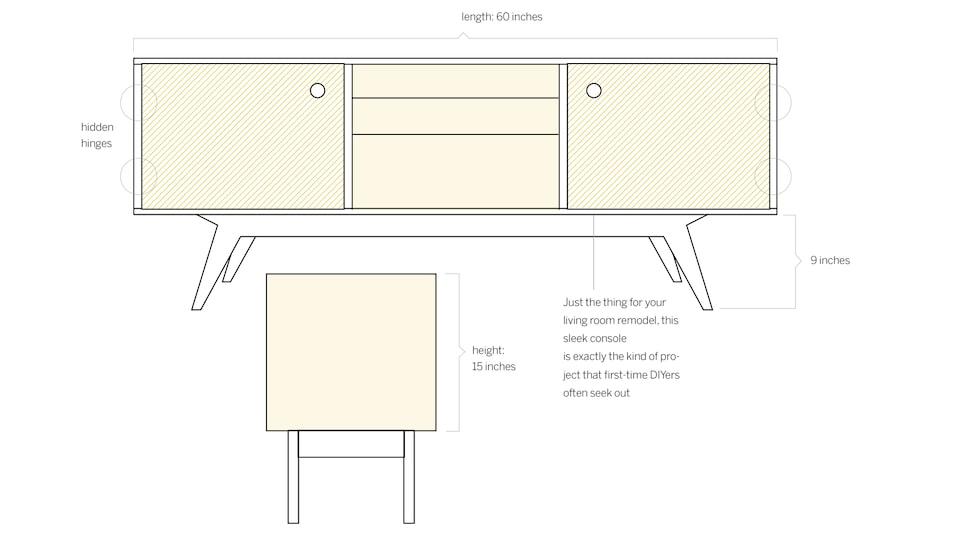 "Drawing of a console table from the front and from the end, with dimensions: Length 60 inches, height 15 inches, legs 9 inches. Caption reads ""Just the thing for your living room remodel, this sleek console is exactly the kind of project that first-time DIYers often seek out."""