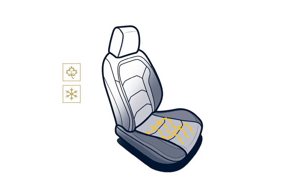 An illustration of a Camaro seat, with the leaf (fall) and snowflake (winter) icons next to it, and jagged lines on the seat to convey heat.