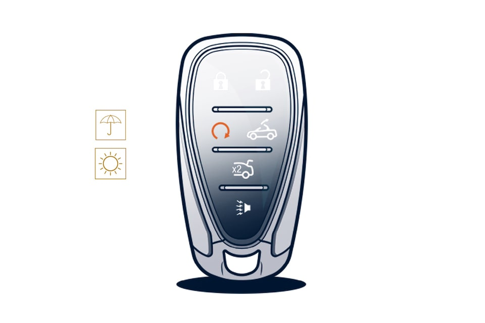 An illustration of the Camaro key fob with the buttons for opening and closing the roof, and the umbrella (spring) and sun (summer) icons next to it.