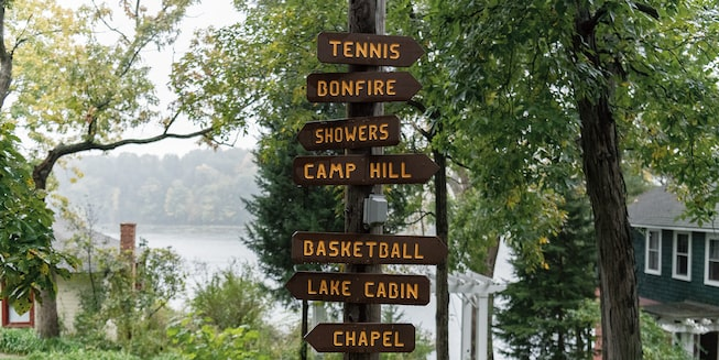 A pole with many rustic signs pointing the way to camp buildings and attractions.