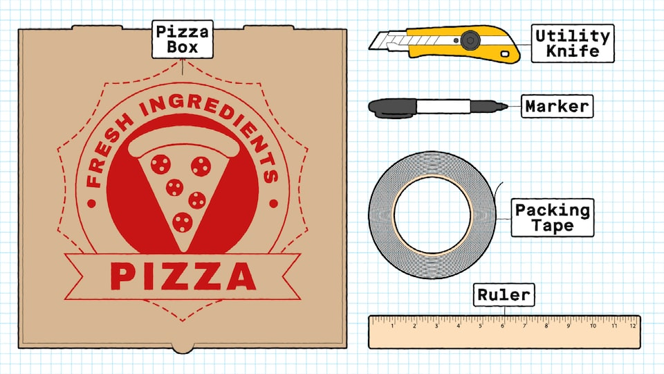 An illustration of the supplies needed for the boomerang, including a cardboard pizza box, a utility knife, a marker, a roll of packing tape, and a ruler.