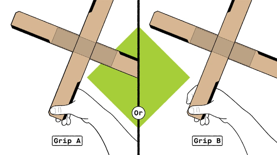 "An illustration showing two ways to hold a cardboard boomerang before throwing it. One illustration is labeled ""grip A"" and it shows all four fingers curled behind the end of the bottom blade. The other is labeled ""grip B"" and it shows the index finger curled around the front edge of the bottom blade."
