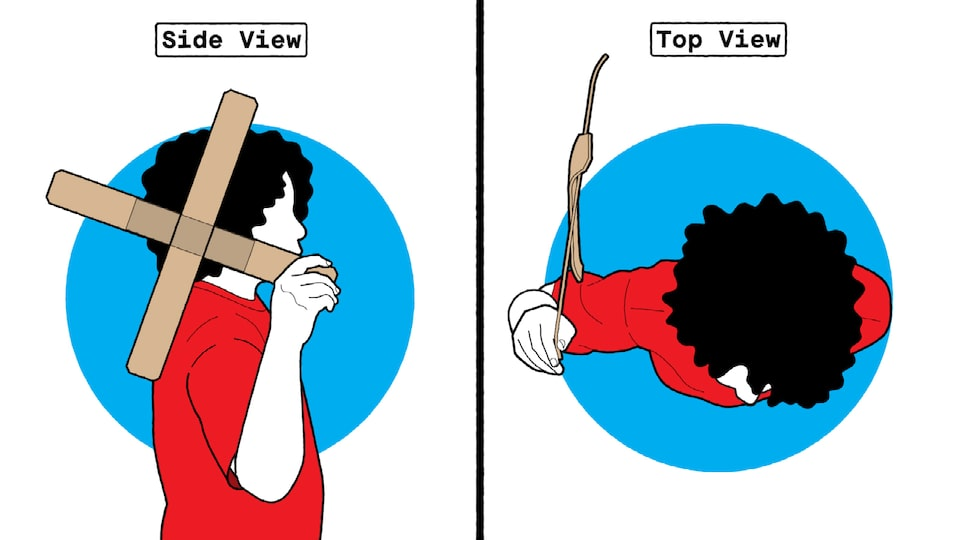 An illustration of someone preparing to throw a cardboard boomerang, with one view from the side and one from the top.