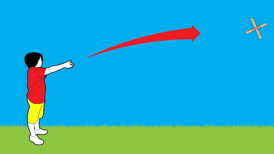 An illustration of a person with their right arm extended after throwing a boomerang. The boomerang is flying away from them and a large red arrow shows its movement.