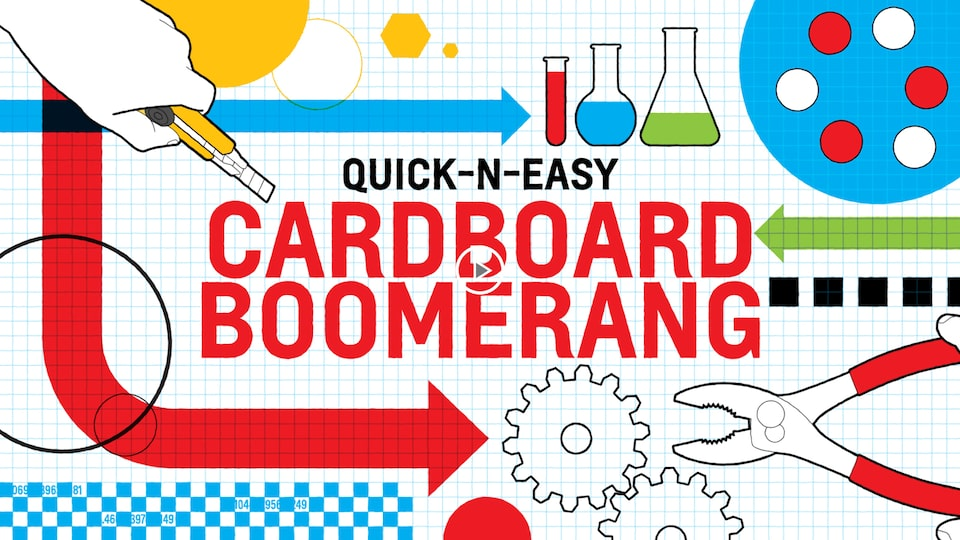 "An illustration on white and blue graph paper of a hand holding a utility knife, several glass beakers and test tubes, a gear, and a pair of pliers with the words ""Quick-n-Easy Cardboard Boomerang."""