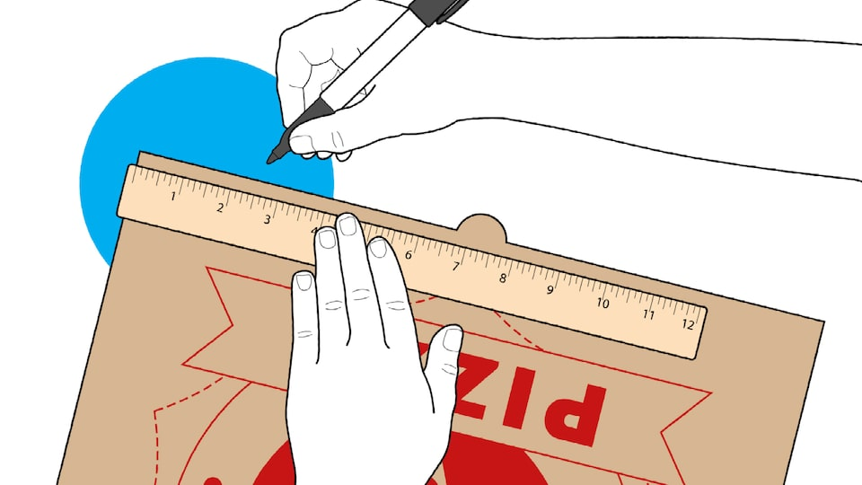 An illustration of someone's hands holding a marker and a ruler as they get ready to measure and mark a pizza box lid.
