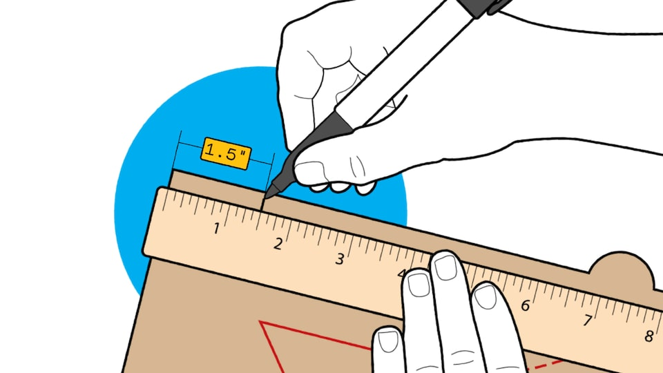 An illustration of someone's hands using a marker and a ruler to put a mark 1.5 inches from the edge of a pizza box lid.