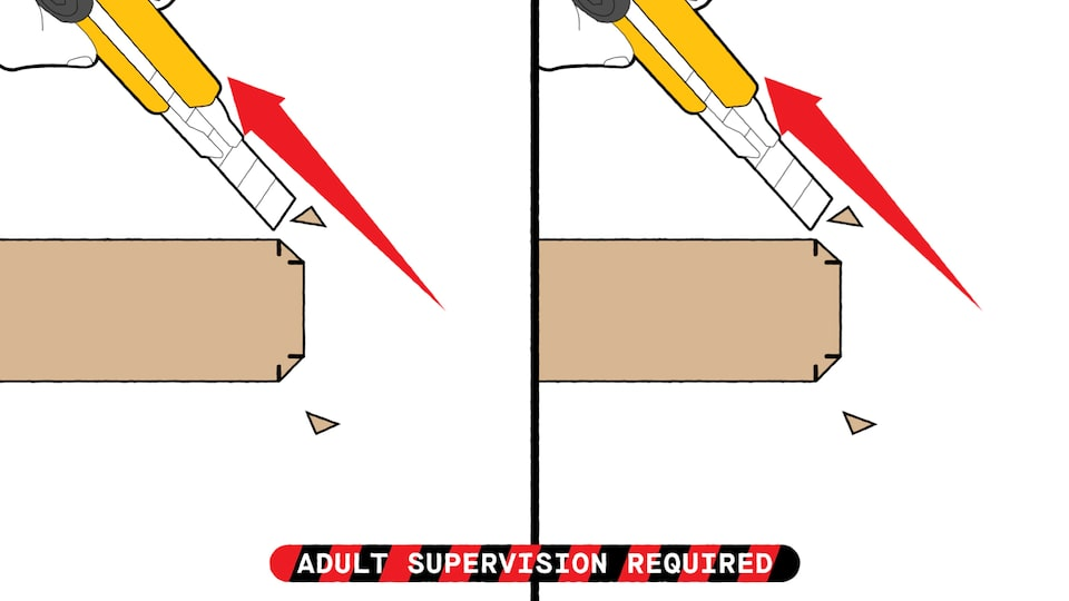 An illustration of a utility knife as it cuts off the corners of the cardboard boomerang blades at the 1/4-inch markings.