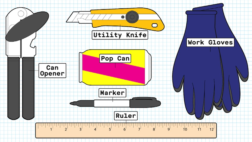 An illustration of the materials needed for the pop can flyer: a pop can, a marker, a ruler, a pair of work  gloves, a utility knife, and a can opener.