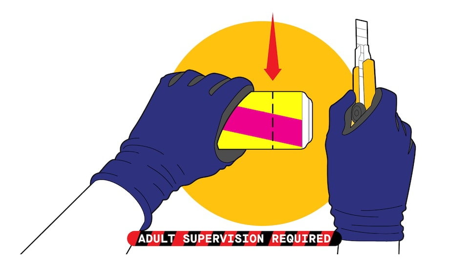 "An illustration of a pair of hands wearing work gloves holding a pop can and a utility knife. A dotted line shows where to cut the can. Text over image reads ""adult supervision required."""