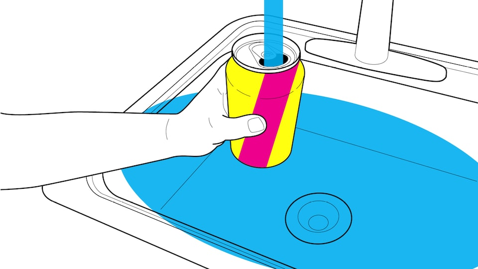 An illustration of a hand holding a pop can over a sink and filling it with water.