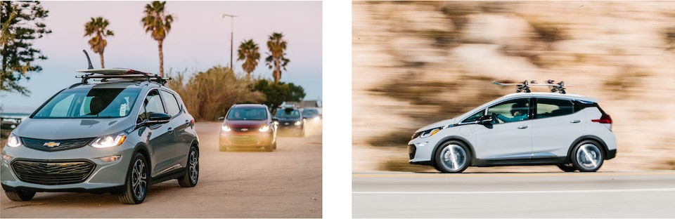 Two images: On the left a line of Bolt EVs drives down a palm-tree-lined road by a beach. On the right a Bolt EV with a snowboard strapped to the roof rack on top drives down a road with a blurred background.