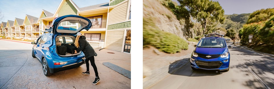 Two images: On the left, a woman loads gear into the back of a Bolt EV parked in a hotel parking lot. On the right, a Bolt EV drives up a mountain road.