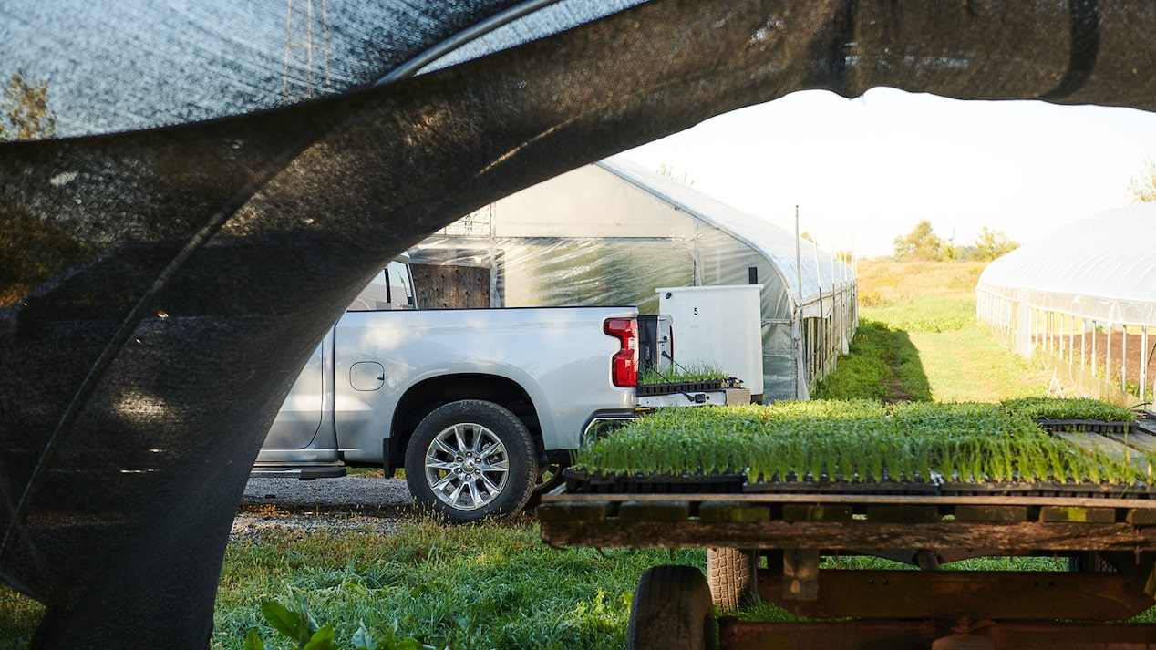 A trailer topped with flats of plants, shown with the cargo bed of a 2019 Chevy Silverado in the background.