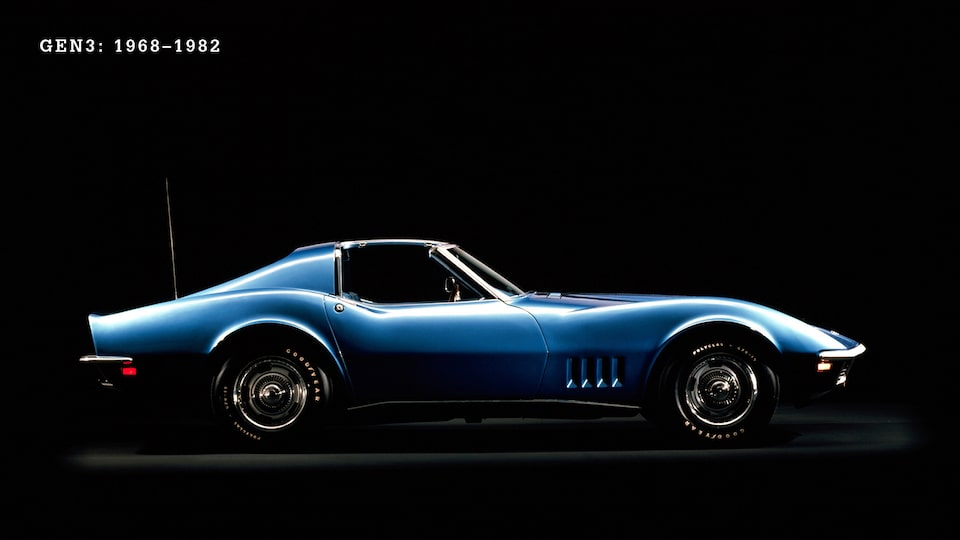 A Generation 3 (C3, 1968-1982) blue Corvette T-Top from the side against a black background.