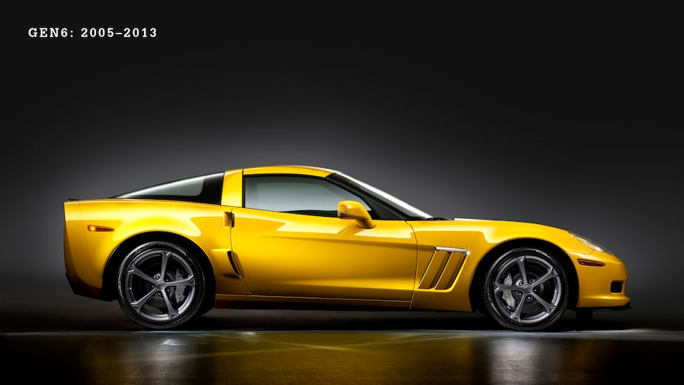 A yellow Generation 6 (C6, 2005- 2013) Corvette seen from the side against a black background.