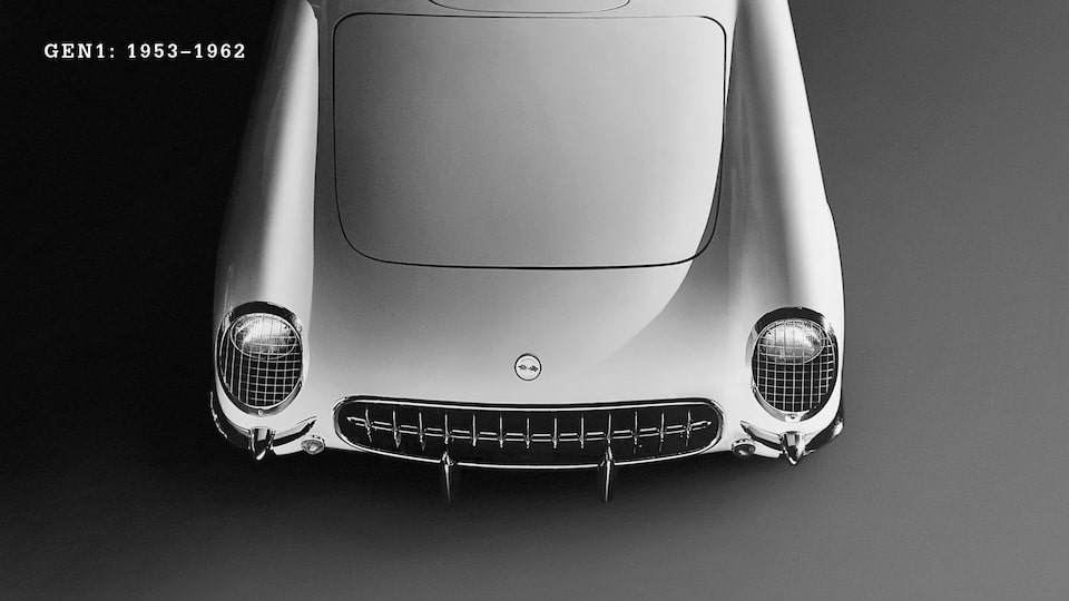 The front end of a white Generation 1 (C1, 1953-1962) Corvette.