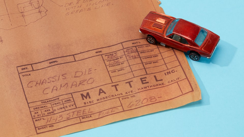 One of the first Custom Camaro Hot Wheels with the original blueprint for the car.