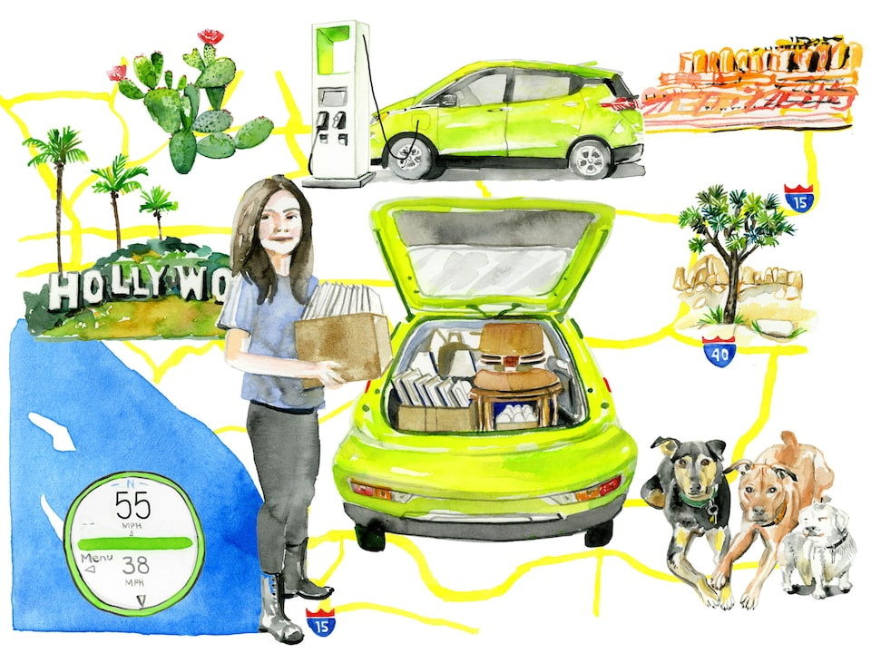 An illustration of Nicole Dome surrounded by several views of her Shock green Bolt EV, her dogs, and California landscape like the ocean, the Hollywood sign, red rocks, and cactus.