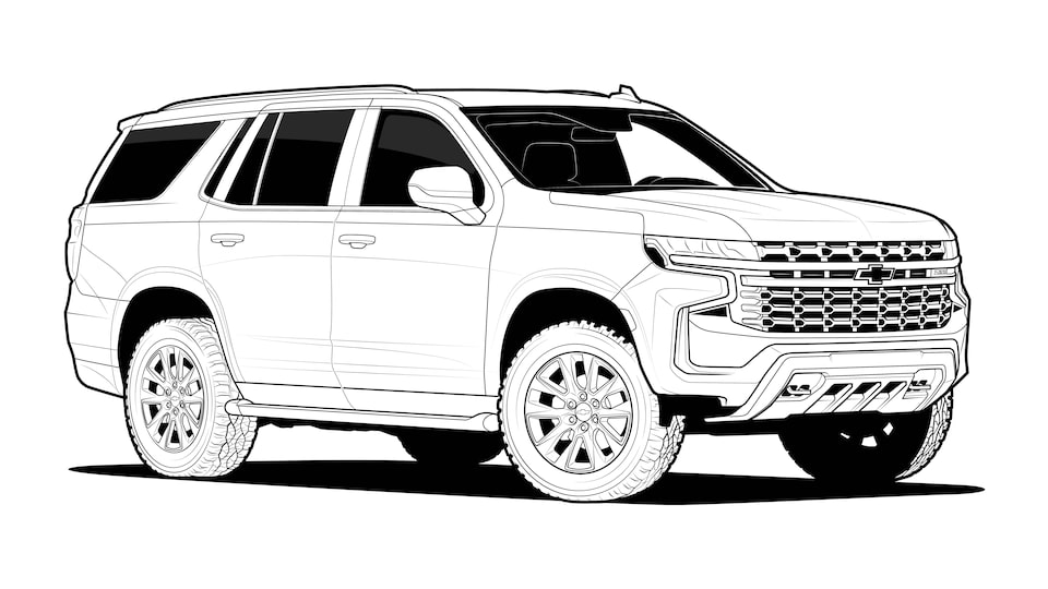 A black and white line drawing of a 2021 Chevy Tahoe.