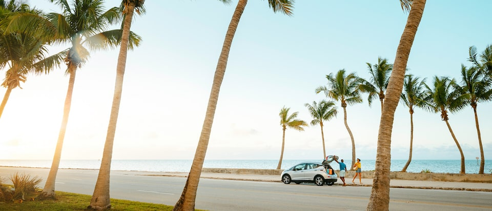 A Silver Ice Metallic Bolt EV sits on a road lined with palm trees with the ocean in the background.
