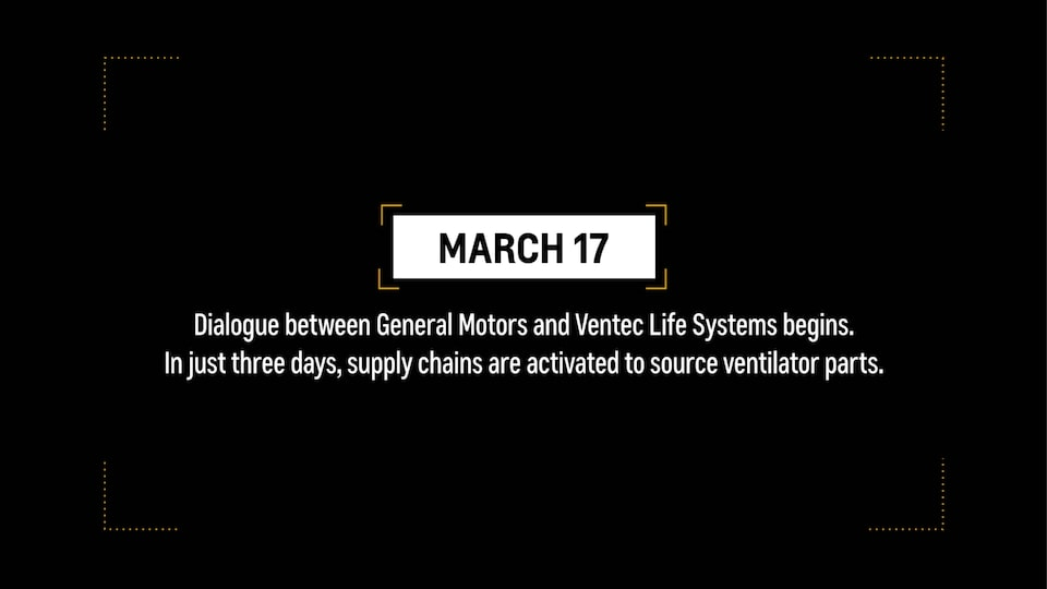 "Video frame reading ""March 17: Dialogue between General Motors and Ventec begins. In just three days, supply chains are activated to source video parts."""