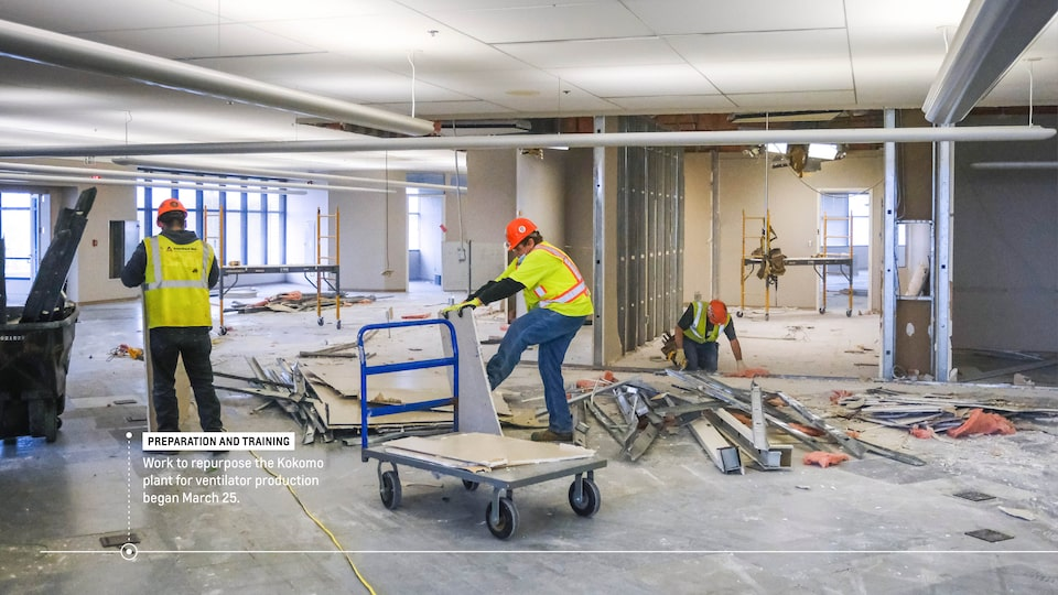 "Construction workers inside the GM plant. Text on image reads ""Preparation and training: Work to repurpose the Kokomo plant for ventilator production began March 25."""
