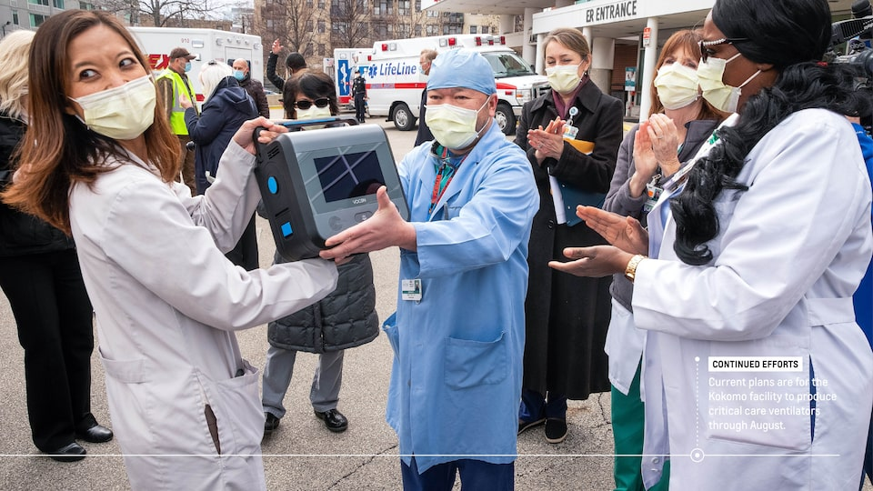 "People in face masks stand outside a hospital applauding as a woman hands a piece of equipment to a man wearing surgical scrubs. Text on image reads ""Continued efforts: Current plans are for the Kokomo facility to produce critical care ventilators through August."""