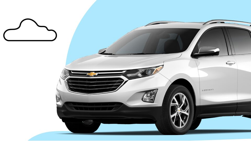 A white Chevrolet Equinox with a light blue circular shape directly behind and below it and an illustrated cloud and plant to the side.
