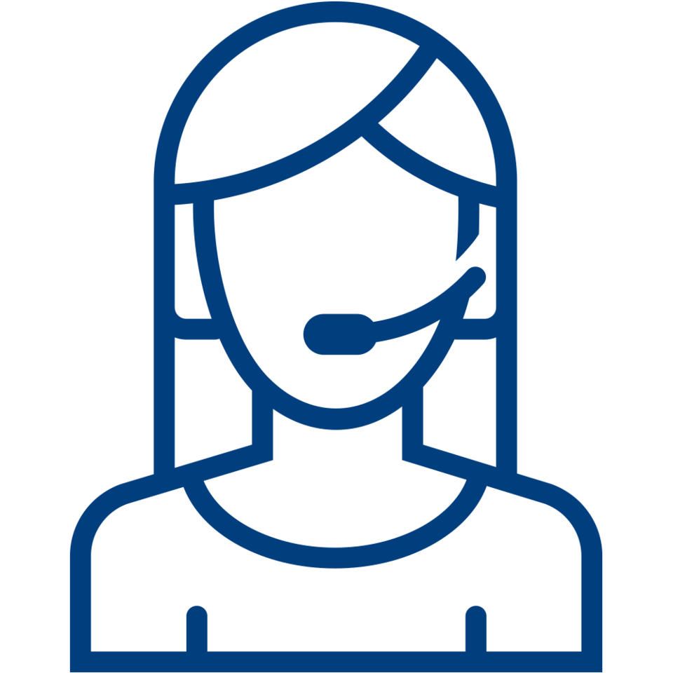A line drawing of an OnStar Advisor wearing a headset.
