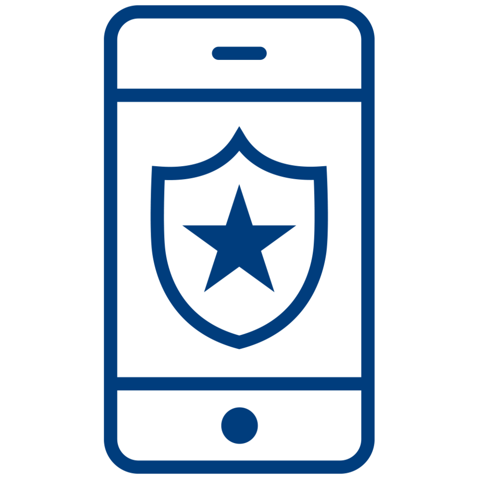 A line drawing of a badge with a star on the screen of a smartphone.