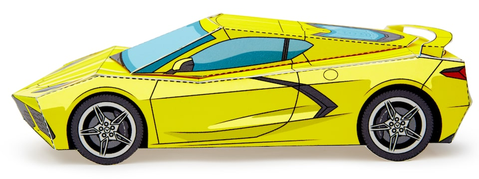 An assembled paper 2020 Corvette model in Accelerate Yellow.
