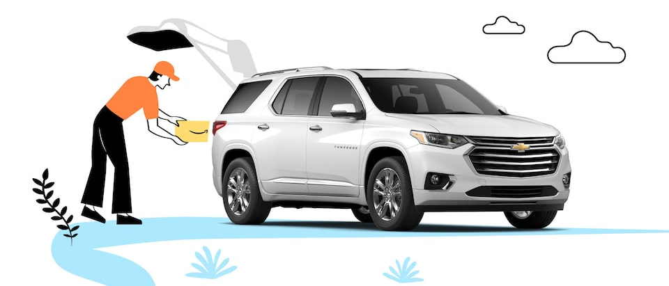 A photo of a white Chevrolet Equinox is set on an illustrated background, including a person standing by the open liftgate putting an Amazon box in the cargo area.
