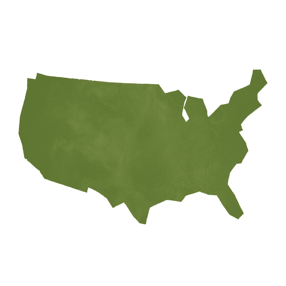 An illustrated outline of the 48 contiguous United States.